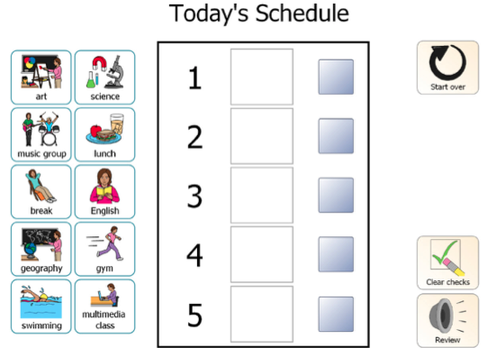 A classroom management schedule with 5 hours of the day and a variety of cards depicting different activities to build a visual schedule